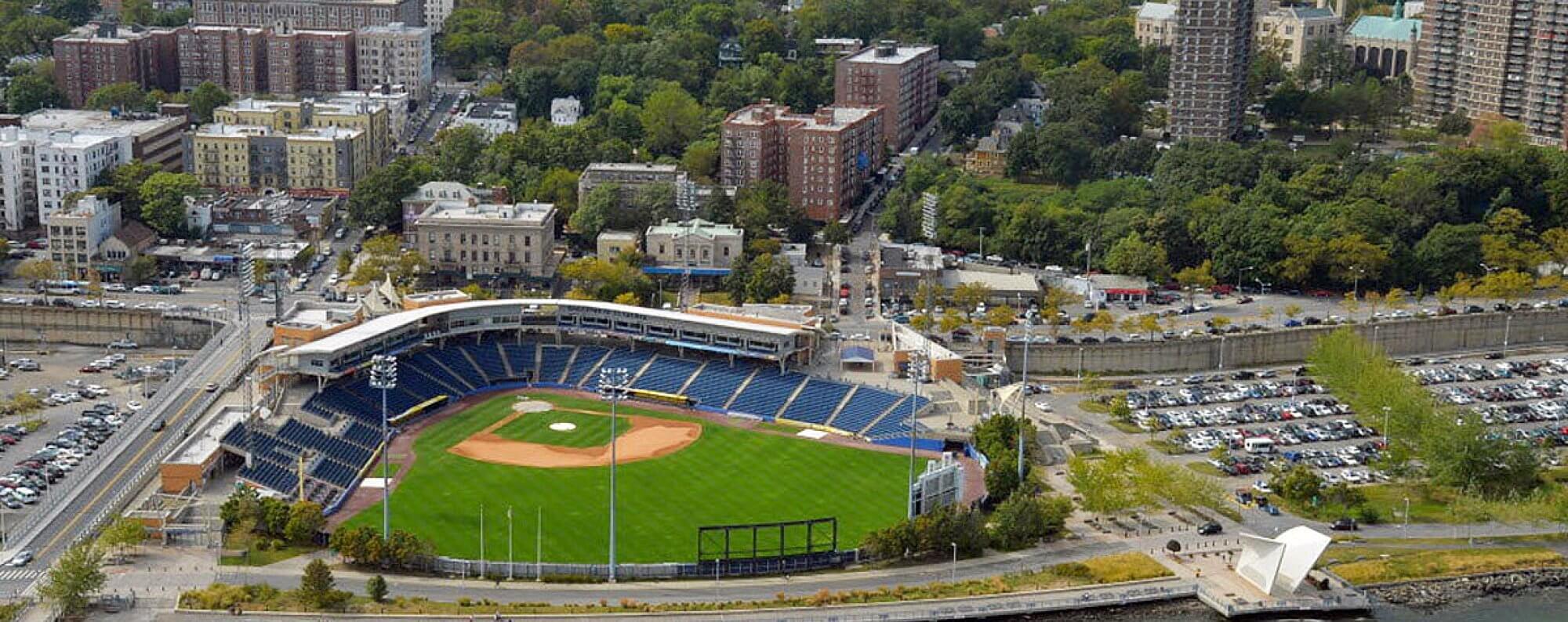 aerial shot of stadium